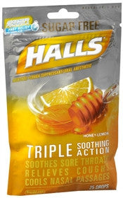 Halls Sugar Free Drops, Honey-Lemon, 25 lozenges