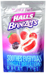Halls Breezers Sugar Free, Cool Berry, 20 lozenges