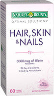 Nature's Bounty Optimal Solutions Hair, Skin & Nails Formula, 60 caplets