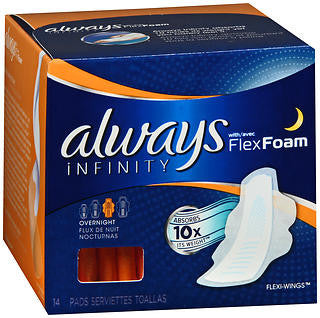 Always Infinity Pads, Overnight, 12 Units x 14 pads (168 total)