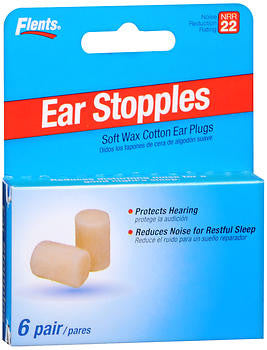 Flents Ear Stopples - Soft Wax/Cotton Ear Plugs,  6 Pair, 6 ea
