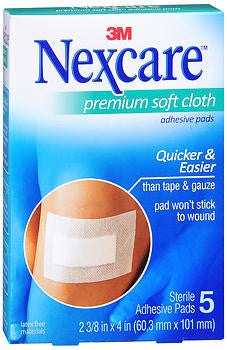 3M Products Nexcare Soft Cloth Premium Adhesive Gauze Pad,  4X 2 3/8, 5 pad