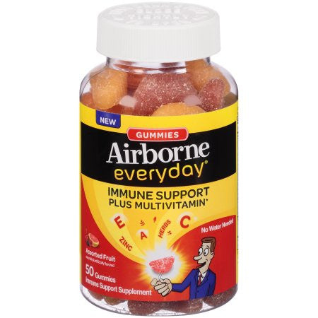 Airborne Everyday Immune Support + Multivitamin Chewables, Assorted Fruit Flavors, 50 ea