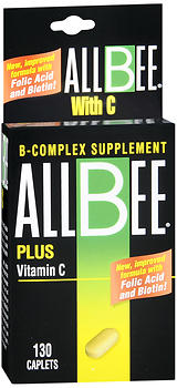 Allbee B Complex Supplement Plus Vitamin C, Caplets, 130 caplets