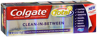 Colgate Total Clean-in-Between Anticavity Fluoride and Antigingivitis Toothpaste Gel, 4oz