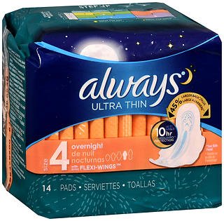 Always Ultra Thin Pads, with Flexi-Wings, Overnight, 12 Units 14 pad (168 total)