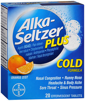 Alka-Seltzer Plus Cold Formula,  Orange Zest, 20 tablets