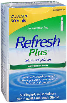 Refresh Plus Eye Drops, 50 Single-use 0.4ml Containers