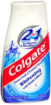 Colgate 2 in 1 Toothpaste & Mouthwash,  Whitening with Tartar Control, Liquid Gel, 4.6 oz