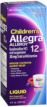 Allegra Childrens 12 Hour Allergy Liquid, 4 oz
