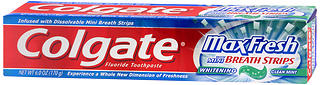 Colgate Fluoride Toothpaste,  with Mini Breath Strips, Clean Mint, 6 oz