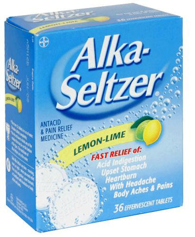 Alka-Seltzer Antacid & Pain Reliever, Lemon-Lime, 36 tablets