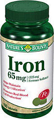 Nature's Bounty Iron 65mg Ferrous Sulfate, 100 tablets