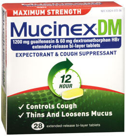 Mucinex DM Expectorant and Cough Supressant, Maximum Strength, 28 tablets