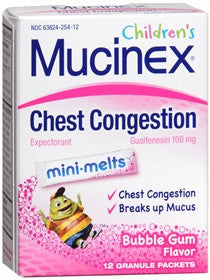 Mucinex Children's Chest Congestion Mini-Melts, Bubble Gum, 12 ea