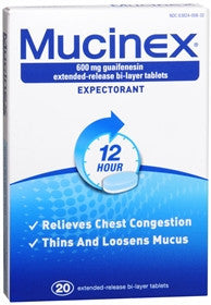 Mucinex Expectorant, 20 tablets