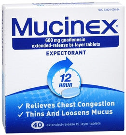 Mucinex Expectorant, 40 tablets