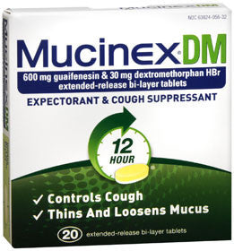Mucinex DM Expectorant & Cough Suppressant, 20 tablets