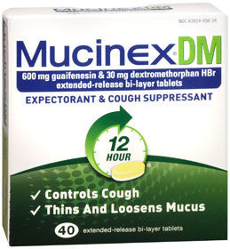 Mucinex DM Expectorant & Cough Suppressant, 40 tablets
