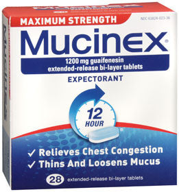Mucinex Maximum Strength Expectorant, 28 tablets