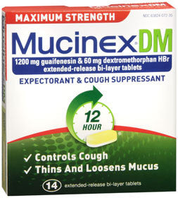 Mucinex DM Expectorant & Cough Suppressant, Maximum Strength, 14 tablets