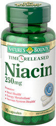 Nature's Bounty Niacin 250mg, Time Released, 90 capsules
