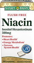 Nature's Bounty Flush Free Niacin 500mg, 50 capsules
