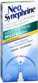 Neo-Synephrine Cold & SInus Mild Nasal Decongestant, Mild Strength, 15ml