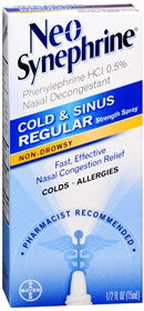 Neo-Synephrine Cold & SInus Nasal Decongestant Spray, Regular Strength, 15ml
