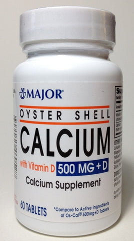 Major Pharm Oyster Shell Calcium,  with Vitamin D,  500 mg- 60 tab