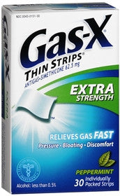 Gas-X Antigas, Extra Strength, Peppermint Flavored Strips, 18 ea