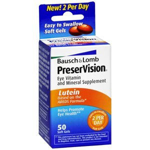 Bausch & Lomb PreserVision Eye Vitamin And Mineral Supplements Lutein Softgels, 50 soft gels