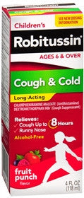 Robitussin Children's Cough & Cold Long-Acting, Fruit Punch, 4 oz