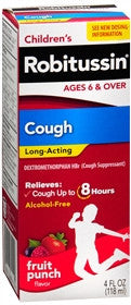 Robitussin Children's Long Acting Cough Liquid, Fruit Punch, 4 oz