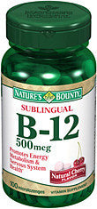Nature's Bounty Sublingual Vitamin B12 500mcg, 100 microlozenges