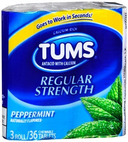Tums Chewable Tablets, Peppermint, 3 rolls