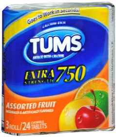Tums Extra Strength, Assorted Fruit, 3 rolls