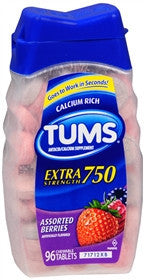 Tums Extra Strength, Assorted Berries, 96 chewable tablets