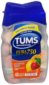 Tums Extra Strength, Assorted Fruit, 48 chewable tablets