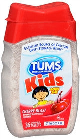 Tums Kids Calcium Tablets, Cherry Blast, 36 ea