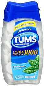 Tums Ultra 1000, Peppermint, 72 chewable tablets
