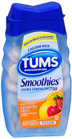 Tums Extra Strength Smoothies, Assorted Fruit, 60 chewable tablets