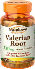 Sundown Valerian Root Whole Herb 530 mg, 100 capsules