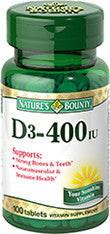 Nature's Bounty Vitamin D-400 IU, 100 softgels