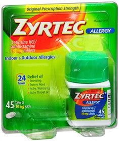 Zyrtec 24-Hour Allergy, 45 tablets