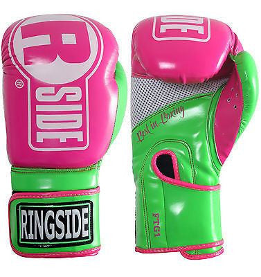 Ringside Apex Womans Boxing Gloves Kickboxing Muay Thai Fitness Bag Gloves Pink - Sedroc Sports