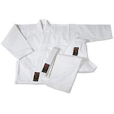 ProForce Gladiator Karate Uniform Gi w/ White Belt Adult Child - White - Sedroc Sports
