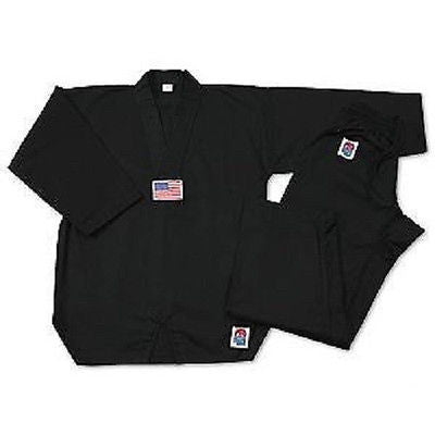 ProForce Gladiator 7 oz. Tae Kwon Do Uniform TKD Gi V-Neck Medium Weight Black - Sedroc Sports