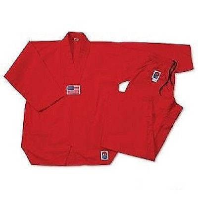 ProForce Gladiator 7 oz. Tae Kwon Do Uniform TKD Gi V-Neck Medium Weight Red - Sedroc Sports