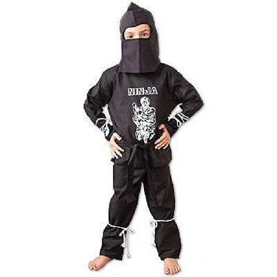 Youth Kids Ninja Warrior Costume Jacket, Pants & Hood Child Halloween Outfit Gi